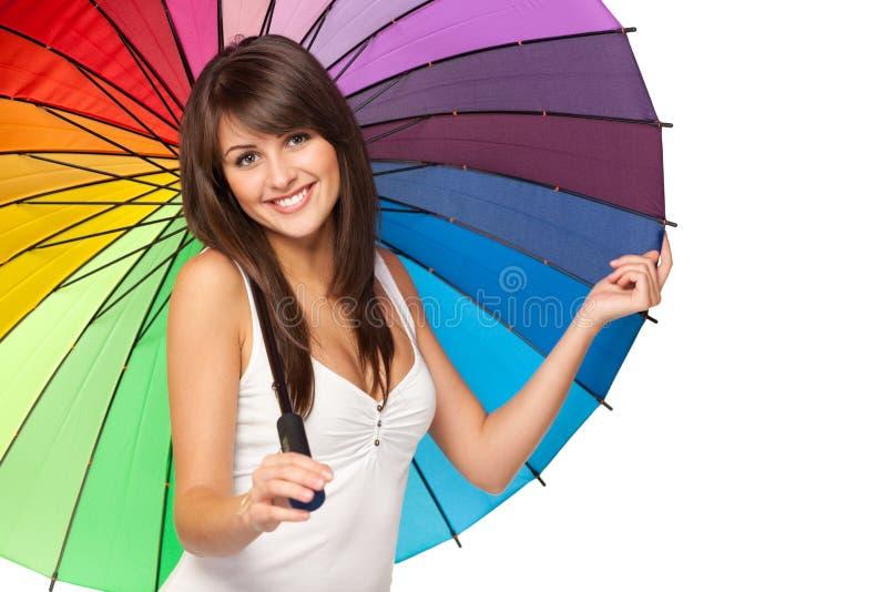 Wijfje onder paraplu stock afbeeldingen