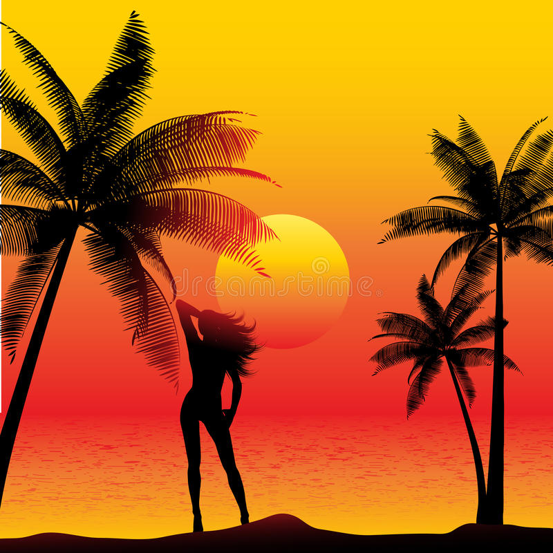 Wijfje op zonsondergangstrand royalty-vrije illustratie