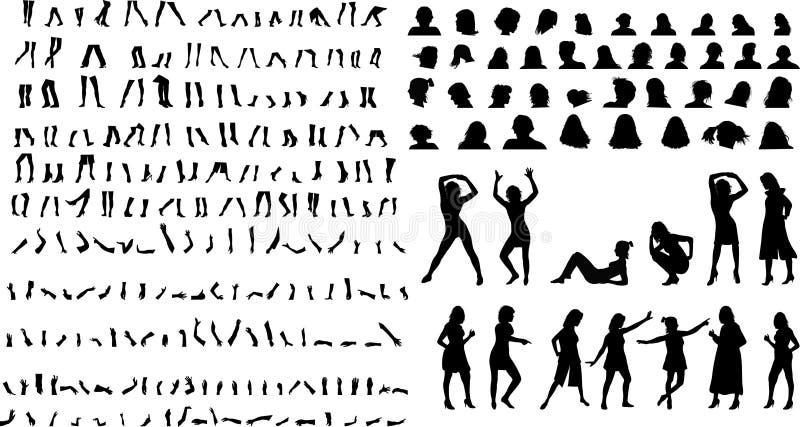 Wijfjes en lichaamsdelen stock illustratie