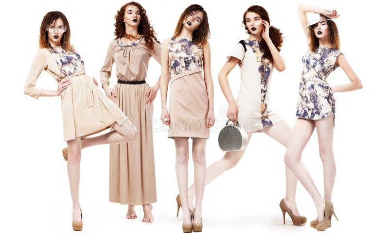 Collage van Trendy Vrouwen in Lichte Seizoengebonden Kleding. Glamour stock afbeeldingen