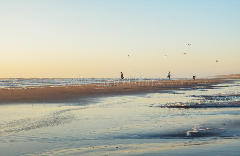 Wijk aan Zee, Netherlands - June 5, 2016: People take an evening stroll along the beach during sunset stock photography