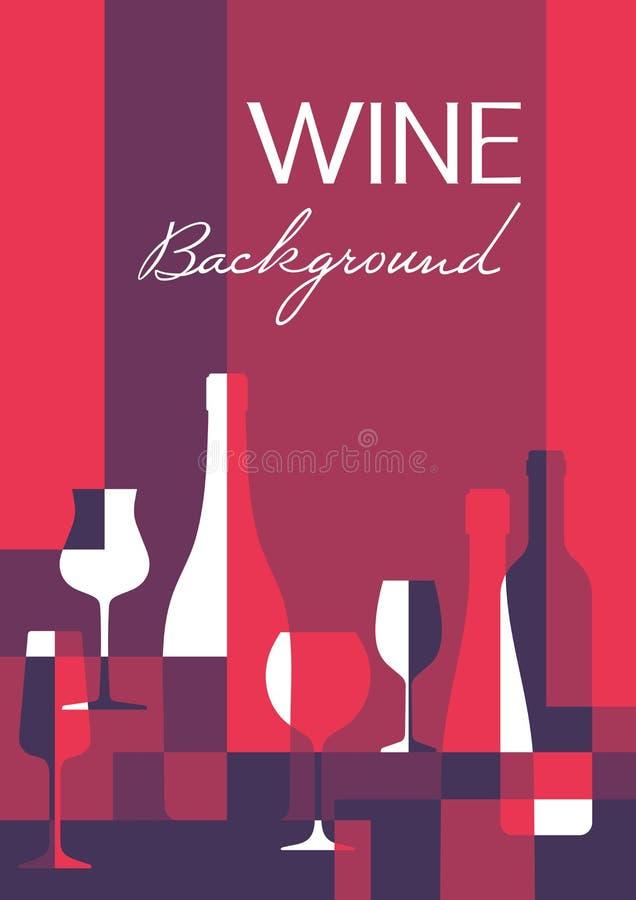Wijn abstracte achtergrond in A4 verticaal formaat Wijnflessen en glazen - vectorillustratie stock illustratie