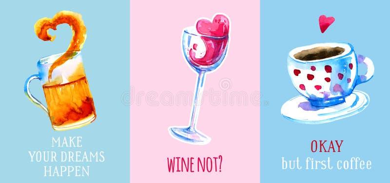 Wijn, bier en koffiehand getrokken die waterverf voor affiches en kaarten op kleurrijke achtergronden wordt geplaatst royalty-vrije illustratie
