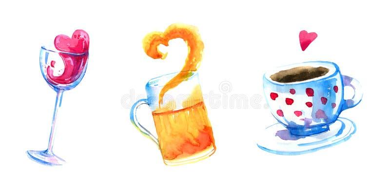 Wijn, bier en koffiehand getrokken die waterverf voor affiches en kaarten wordt geplaatst stock illustratie