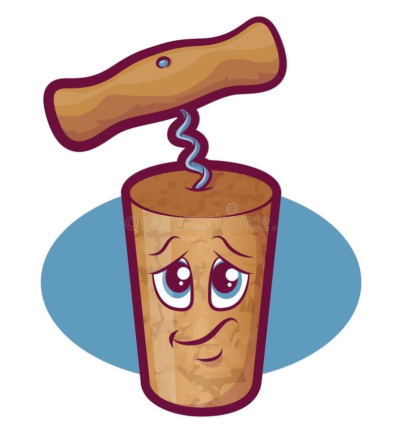 Wijn Cork Character stock illustratie
