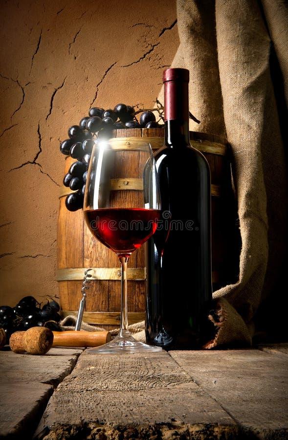 Wijn dichtbij kleimuur stock afbeelding