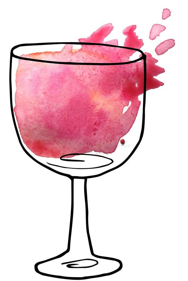 Wijn in een glas - een schets en kunststijl roosterillustratie voor menuontwerp, tijdschriften royalty-vrije illustratie