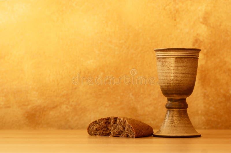 Wijn en brood stock foto's