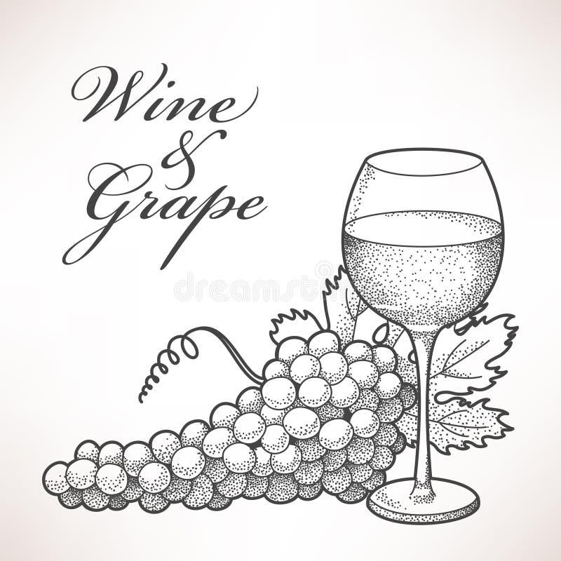 Wijn en druif royalty-vrije illustratie