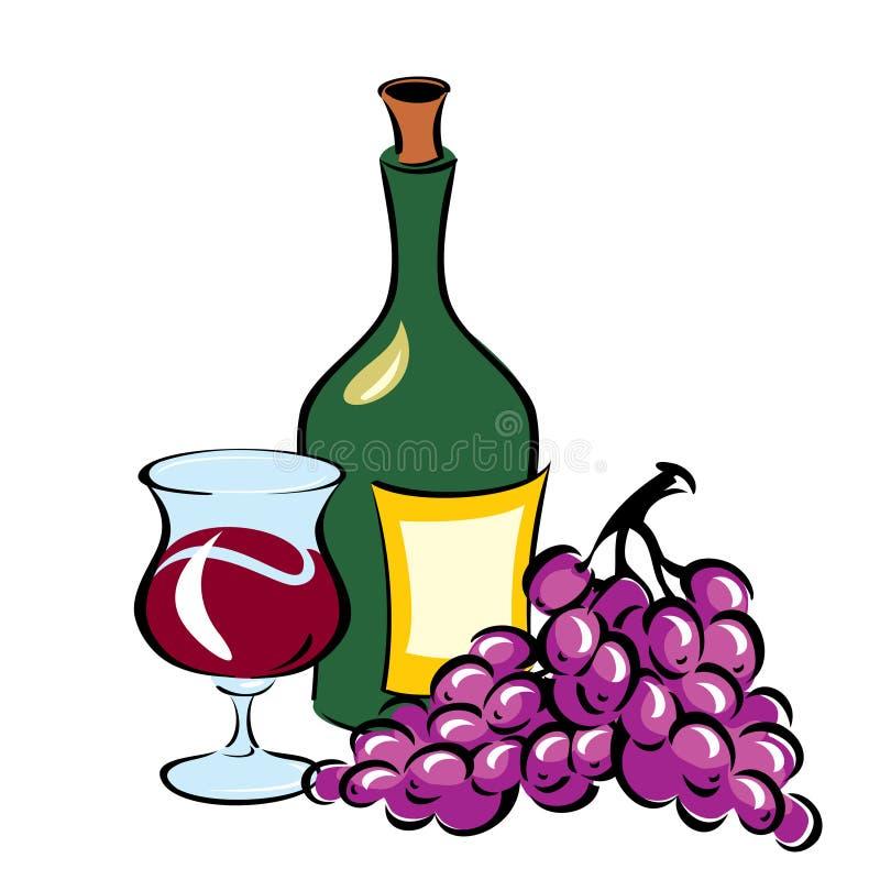 Wijn en Druiven royalty-vrije illustratie