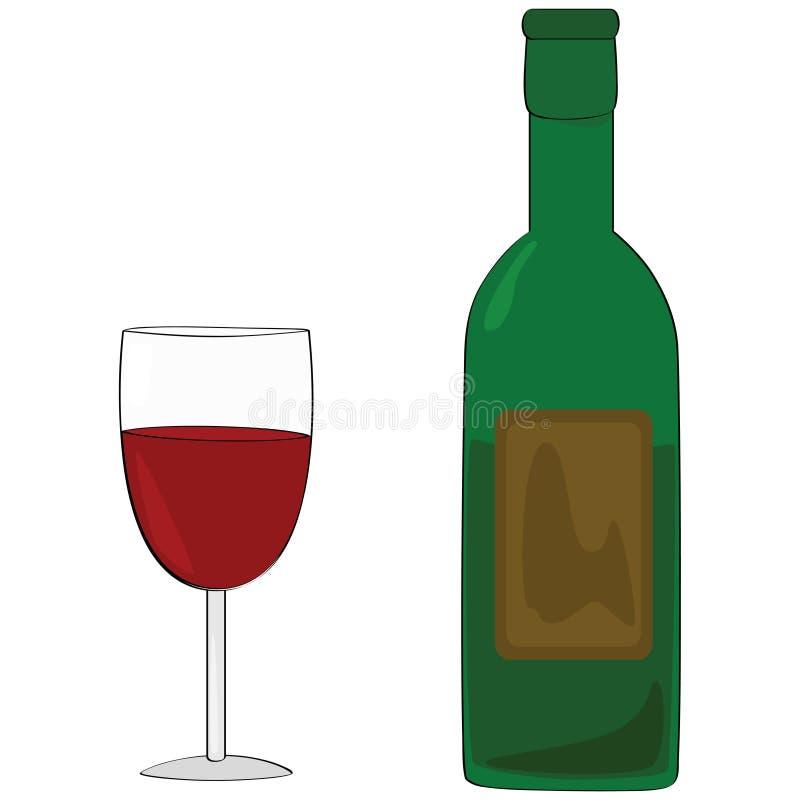 Wijn en fles royalty-vrije illustratie