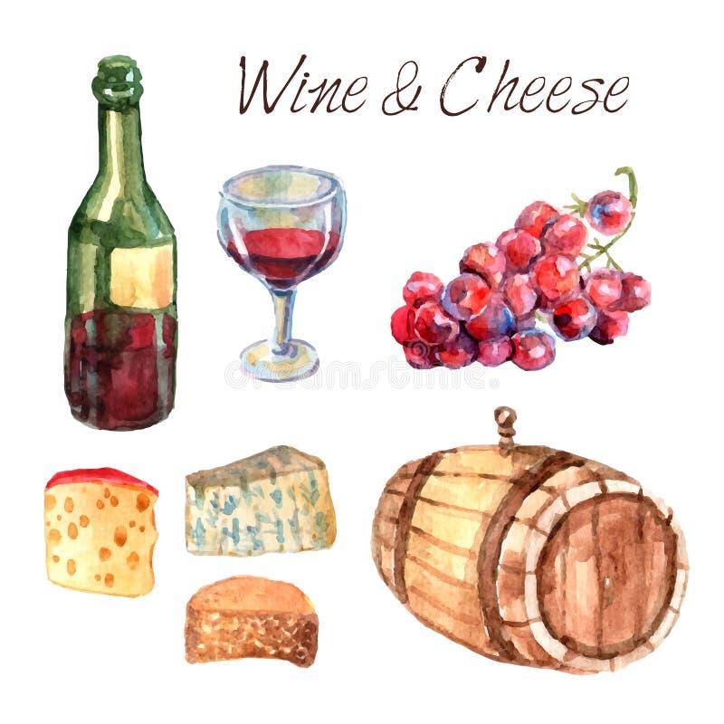 Wijn en kaas geplaatste waterverfpictogrammen vector illustratie