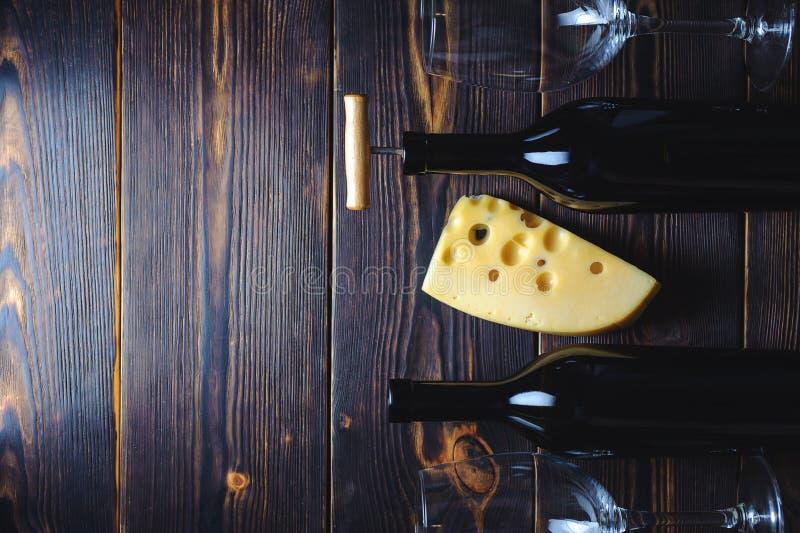 Wijn en kaasruimte aan exemplaar royalty-vrije stock foto's