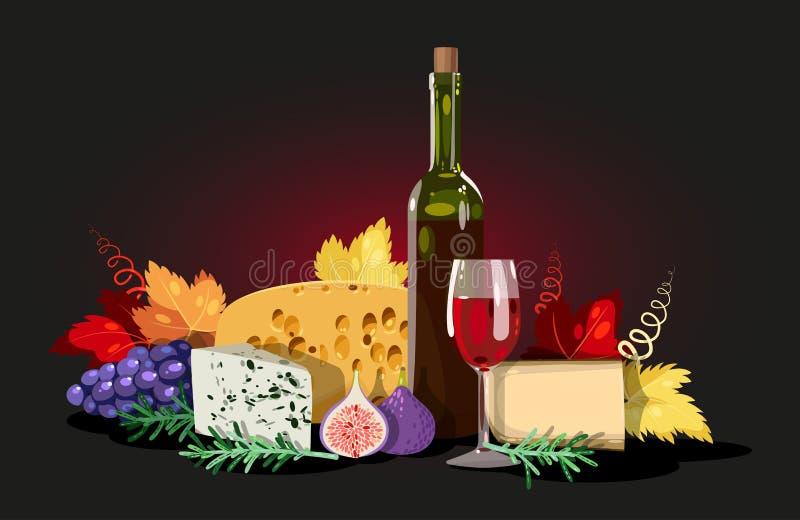 Wijn en kaassamenstelling royalty-vrije illustratie