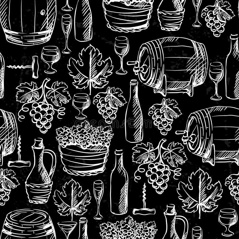 Wijn en langs getrokken wijnbereidings naadloos patroon stock illustratie