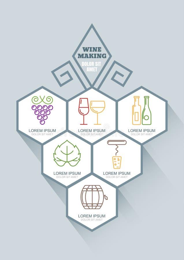 Wijn en ontwerp van wijnbereidings het vectorinfographics stock illustratie