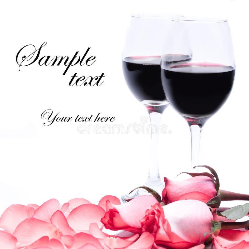 Wijn en rozen royalty-vrije illustratie