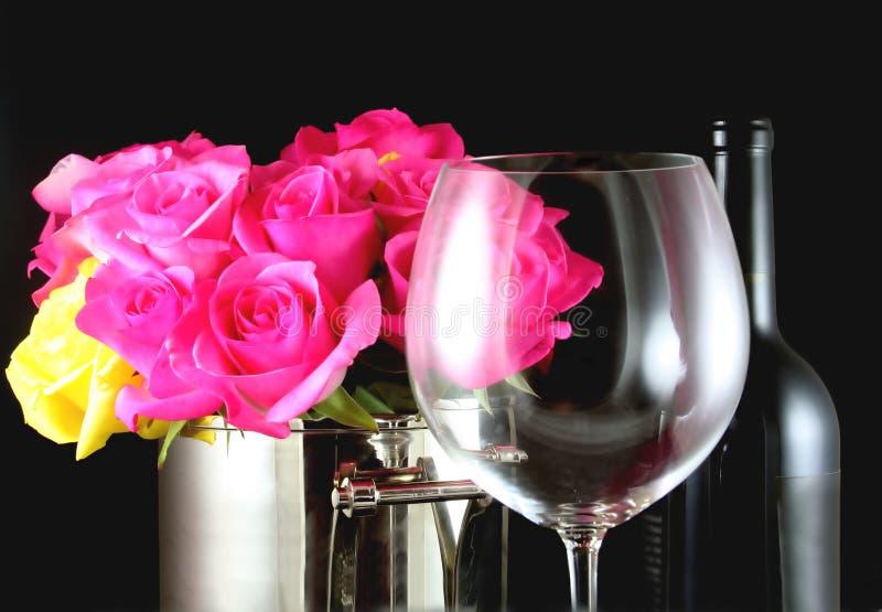 Wijn en Rozen royalty-vrije stock fotografie