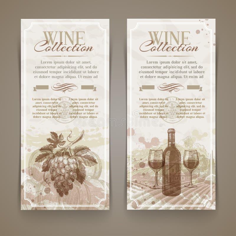 Wijn en wijnbereiding - grunge uitstekende banners vector illustratie