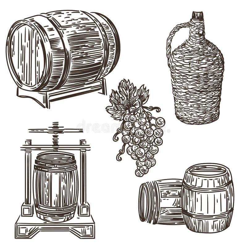 Wijn het maken illustratie 1 vector illustratie