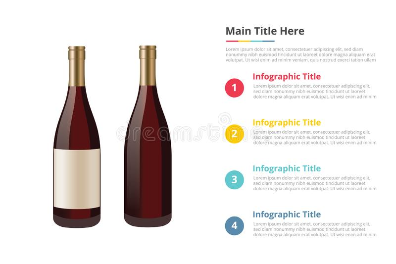Wijn in het malplaatje van flesseninfographics met 4 punten van de beschrijving van de beschikbare ruimtetekst - vector vector illustratie