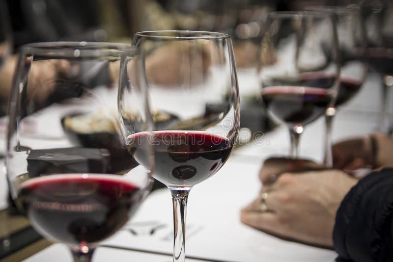 Wijn het proeven in Burgos, Spanje stock foto's
