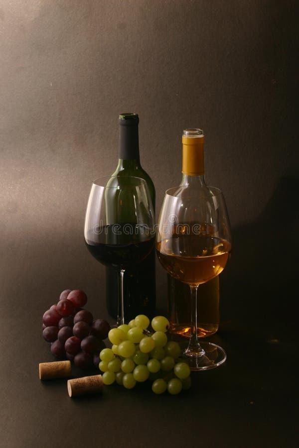 Wijn met druiven stock fotografie