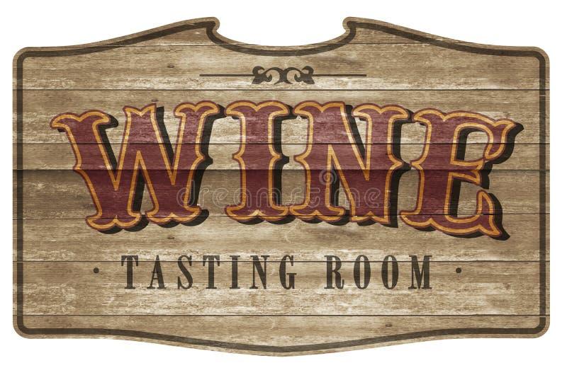 Wijn Proevend Zaal Teken Logo Art Wooden Western Style royalty-vrije stock afbeelding