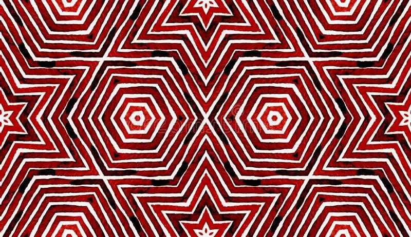 Wijn rode Geometrische Waterverf Vermakelijk Naadloos Patroon Hand getrokken strepen Borsteltextuur Captivat stock afbeelding