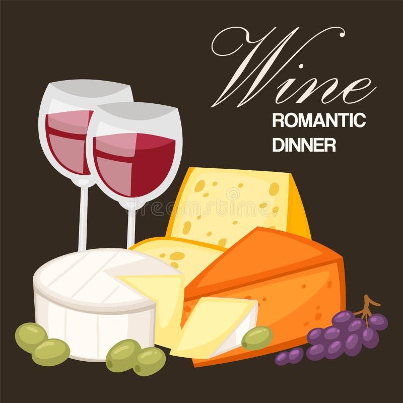 Wijn romantisch diner De beste realistische samenstelling van kwaliteits speciale kazen met Edamparmezaanse kaas en Gouda, Brie n vector illustratie