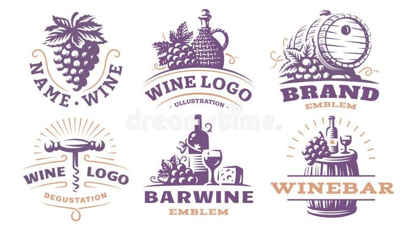 Wijn vastgesteld embleem - vectorillustraties, emblemen vector illustratie