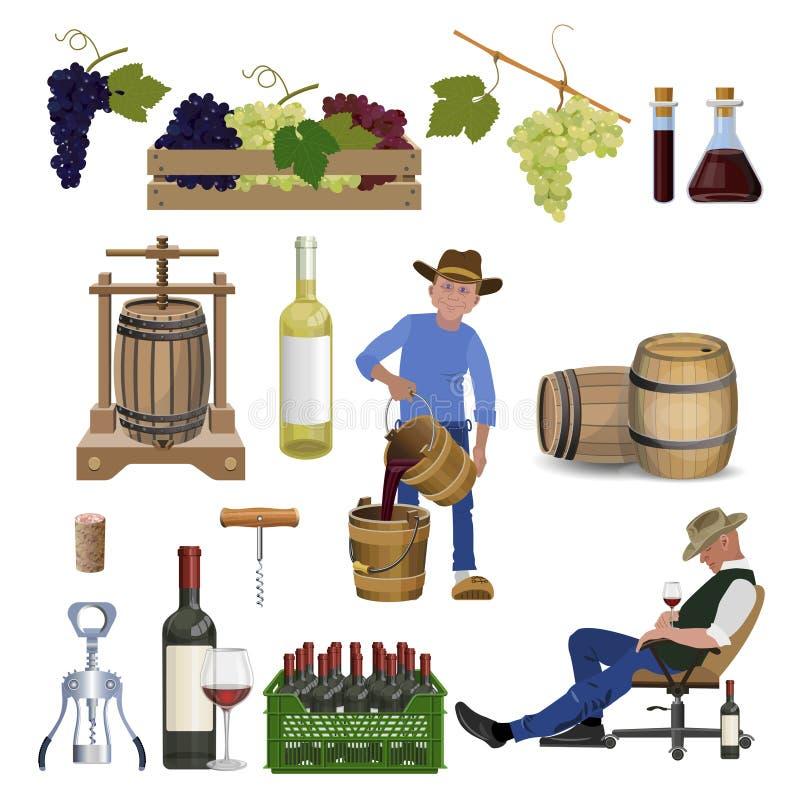 Wijn vastgestelde vector vector illustratie