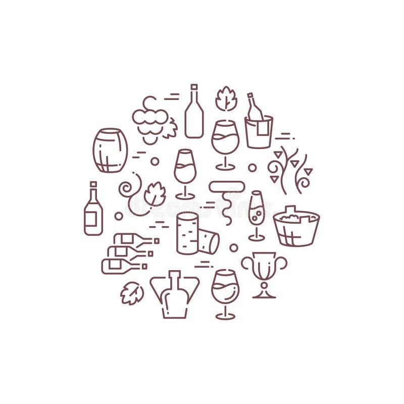 Wijn vectorembleem met overzichtspictogrammen royalty-vrije illustratie