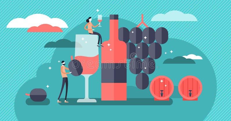 Wijn vectorillustratie Minipersonen die alcoholische drankconcept drinken royalty-vrije illustratie