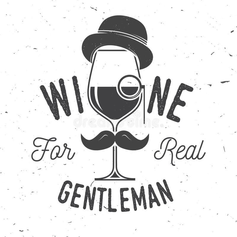 Wijn voor echte heer Het kenteken, het teken of het etiket van het wijnmakerijbedrijf stock illustratie