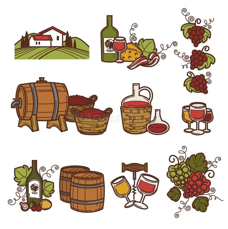 Wijnbereiding of van de wijnproductie geplaatste wijnbouwpictogrammen royalty-vrije illustratie
