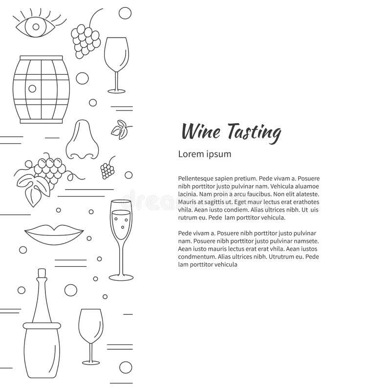 Wijnbereiding, wijn die grafisch ontwerpconcept proeven royalty-vrije illustratie