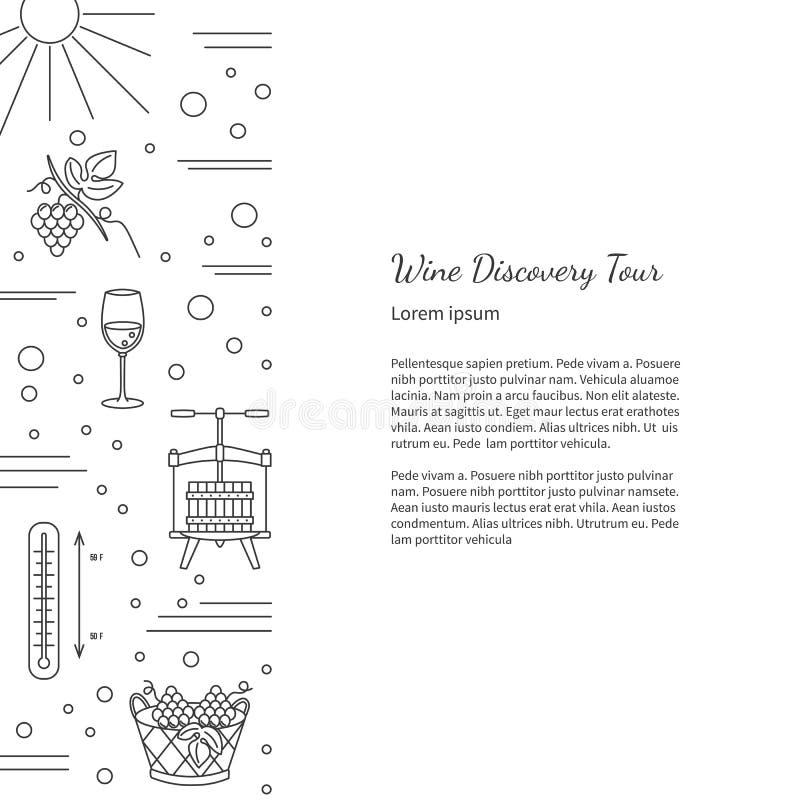 Wijnbereiding, wijn die grafisch ontwerpconcept proeven stock illustratie