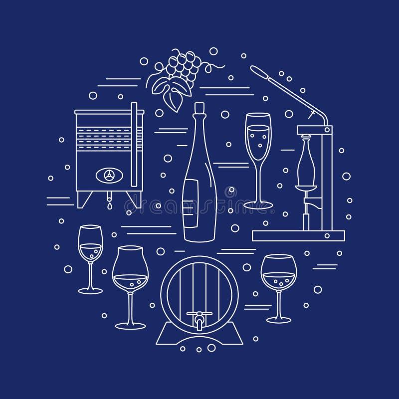 Wijnbereiding, wijn die grafisch ontwerpconcept proeven vector illustratie