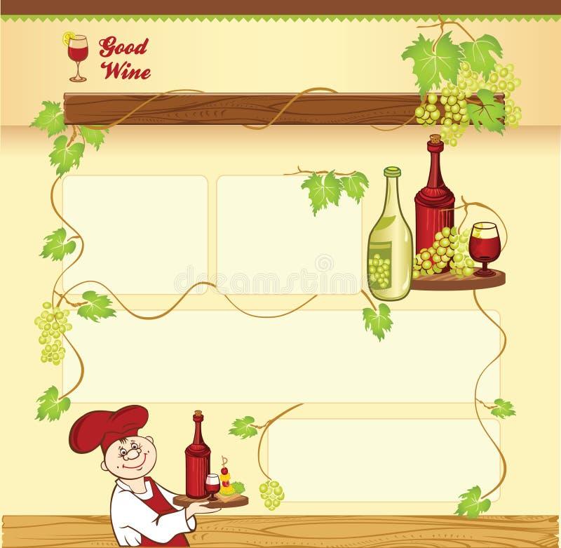 Wijnconcept voor Webmalplaatje stock illustratie