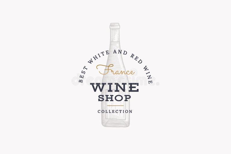 Wijnen van Frankrijk Vectorembleem van wijnopslag met fles champagne op witte achtergrond vector illustratie