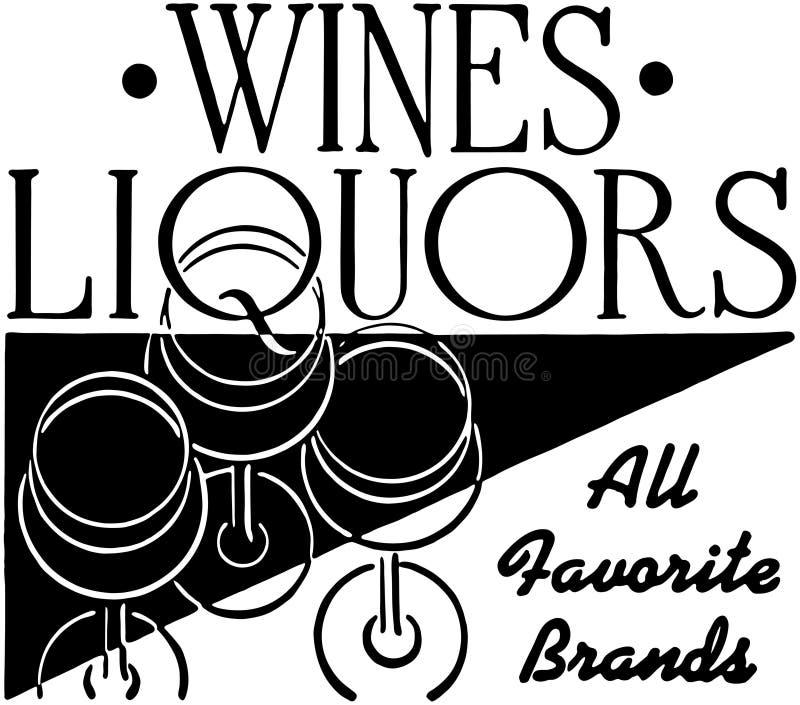 Wijnenalcoholische dranken stock illustratie