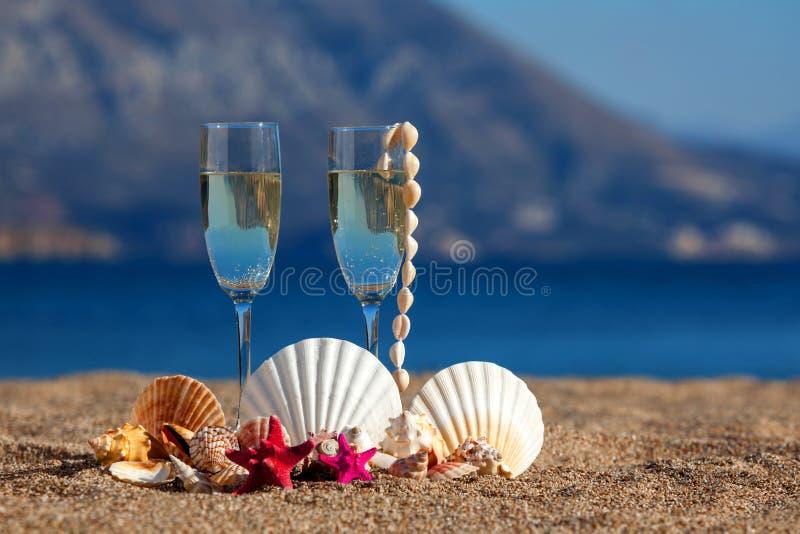 Wijnenglazen, shells, zeesterren royalty-vrije stock fotografie