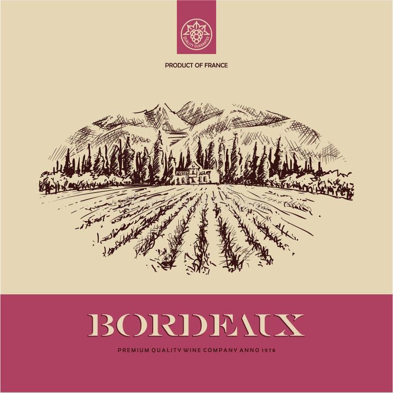 Wijnetiket, de getrokken illustratie van het wijngaardlandschap hand royalty-vrije illustratie