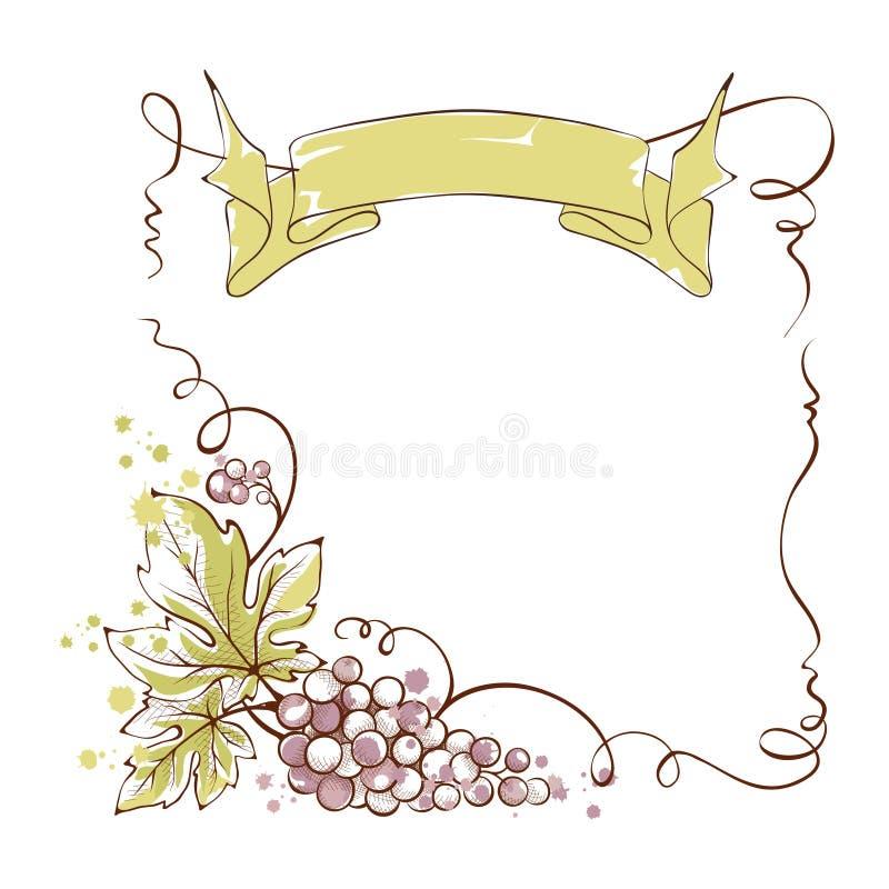 Wijnetiket met een bos van druiven en lint vector illustratie