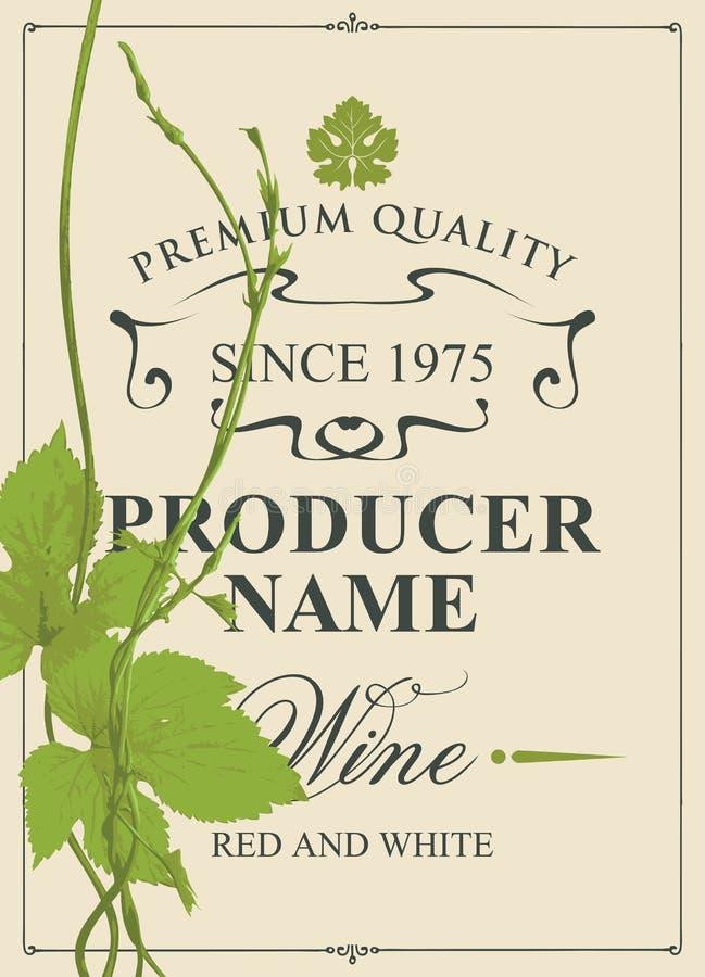 Wijnetiket met groene wijnstok en wijnstokbladeren vector illustratie