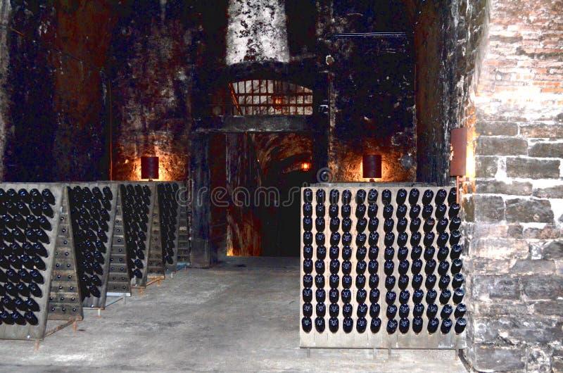Wijnfles in de oude kelder royalty-vrije stock afbeelding