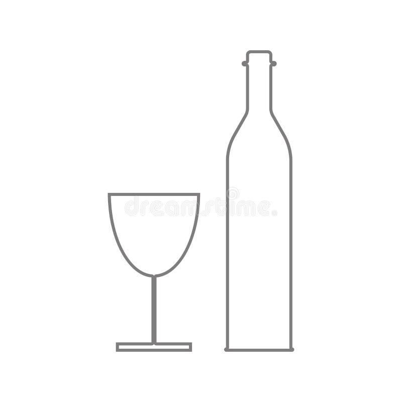 Wijnfles en het pictogram van het wijnglas Element van cyberveiligheid voor mobiel concept en webtoepassingenpictogram Dun lijnpi vector illustratie