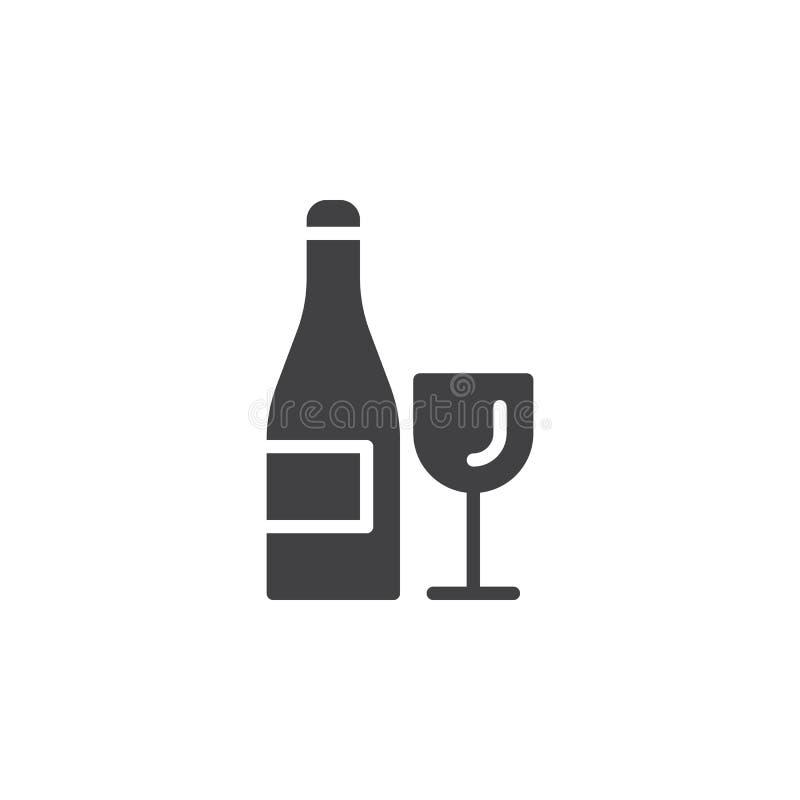 Wijnfles en het vector, gevulde vlakke teken van het glaspictogram, stevig die pictogram op wit wordt geïsoleerd stock illustratie