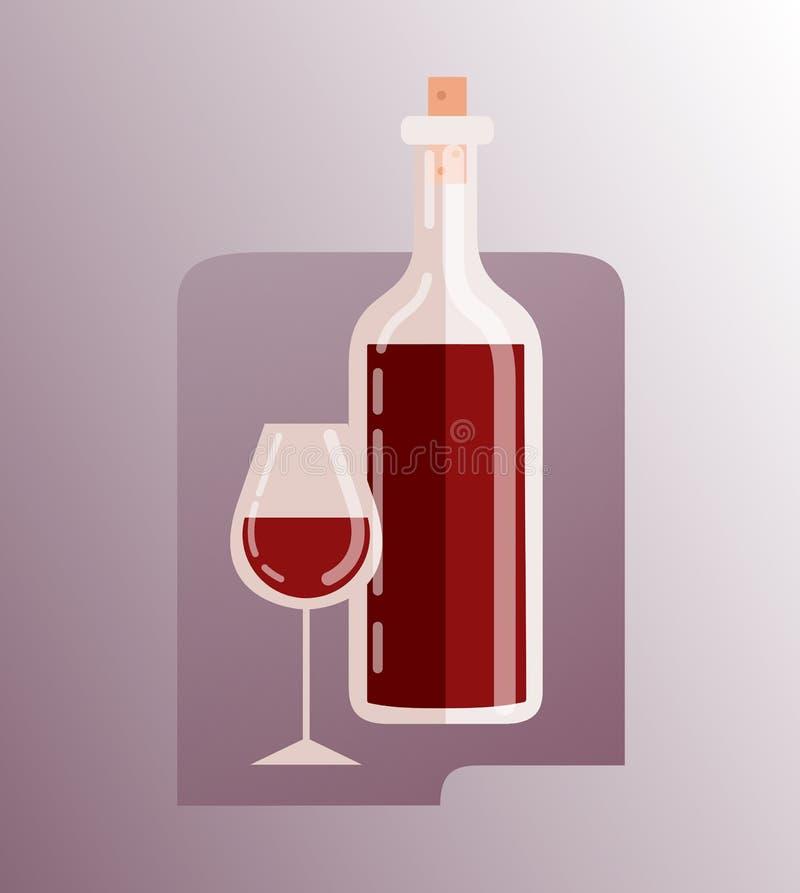 Wijnfles en vectorpictogram van de wijnglas het vlakke gradiënt vector illustratie
